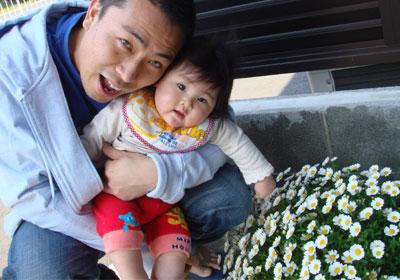花と七夕ちゃんとパパ