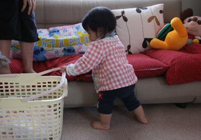 洗濯カゴで遊びます