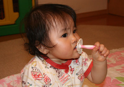歯ブラシの練習