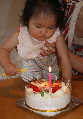 ローソク1本のケーキ